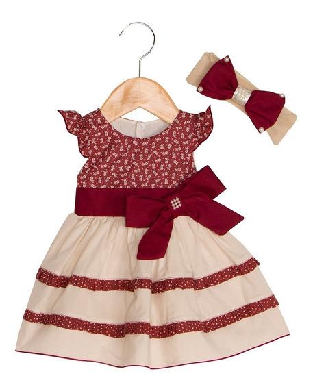Vestido Bebê Charme Marsala + Faixa De Cabelo-pronta Entrega