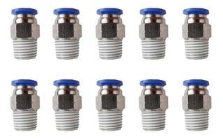 10 Pz De Conector/racor Rápido Neumático Recto 1/4 Npt X 8mm