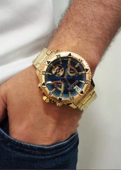Relógio Dourado Masculino Grande Barato Pesado
