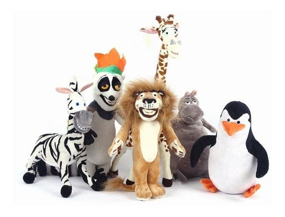 Kit Pelúcias Filme Madagascar 6 Personagens Alta Qualidade
