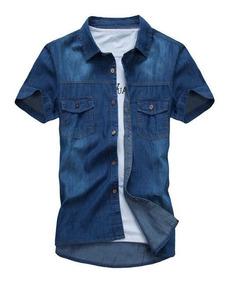 Camisa Jeans Masculina Manga Curta Slim Fit
