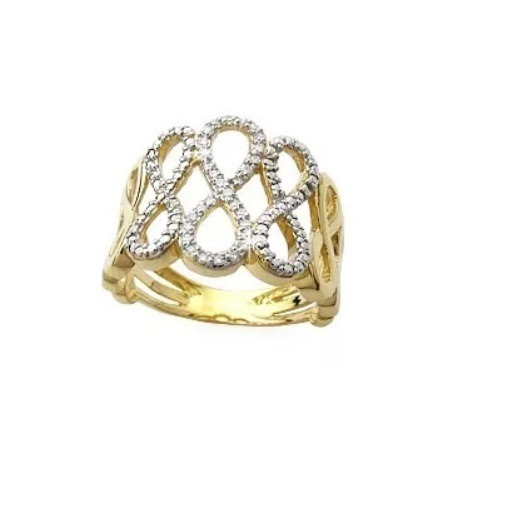 Anel De Ouro 18k Pavê Infinito Com 30 Diamantes Naturais