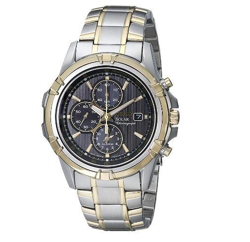 Relógio Seiko Cronógrafo Solar Alarme Cinza/prata/dourado