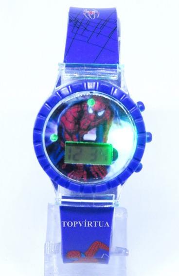 Relógio Homem Aranha Digital 3d Som Luz Azul Barato Original