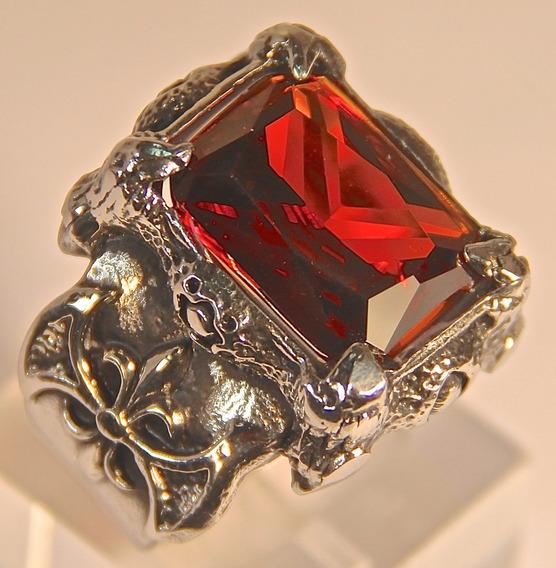 Rsp J3677 Anel Céltico Inox Envelhecido Cristal Vermelho Nat