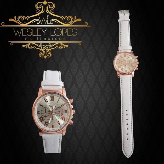 Relógio Feminino Branco, Pulseira De Couro