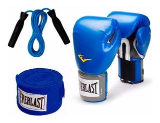 Combo Boxeo Everlast :guantes Prostyle + Vendas 120 + Soga