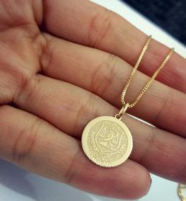 Gargantilha Medalha Nutrição Prata Banho Ouro Nutricionista