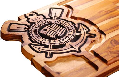Imagem 1 de 4 de Tabua Carne Corte Madeira Churrasco Corinthians Entalhada