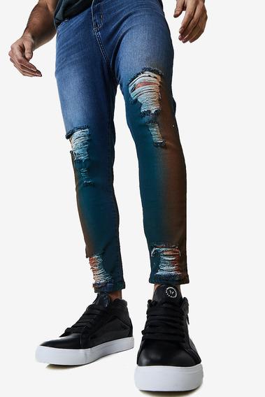 Jean Straight Skinny Tebula Azul Hombre Cuotas