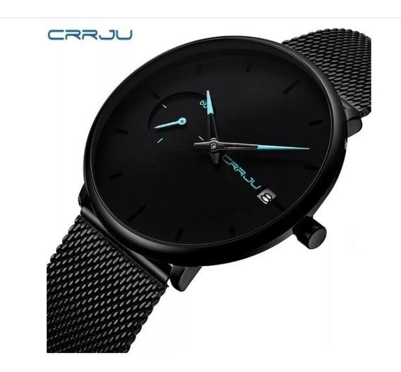 Relógio Masculino Social Luxo Crrju Pulseira Aço Inox