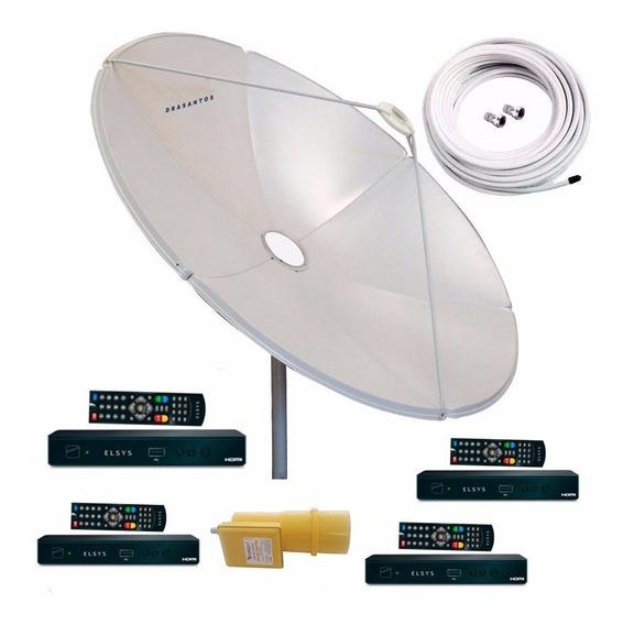 Parabolica Chapa 180 Cm Multiponto + 4 Receptor Digital Hd