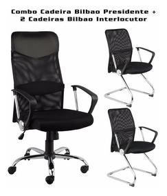 Conjunto Cadeira Bilbao Presidente + Duas Interlocutor