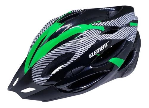 Capacete Ciclismo Com Sinalizador E Regulagem Element Verde   CICLISTANAMODA
