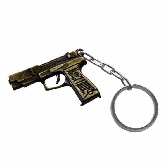 Chaveiro De Metal Pistola Dourado
