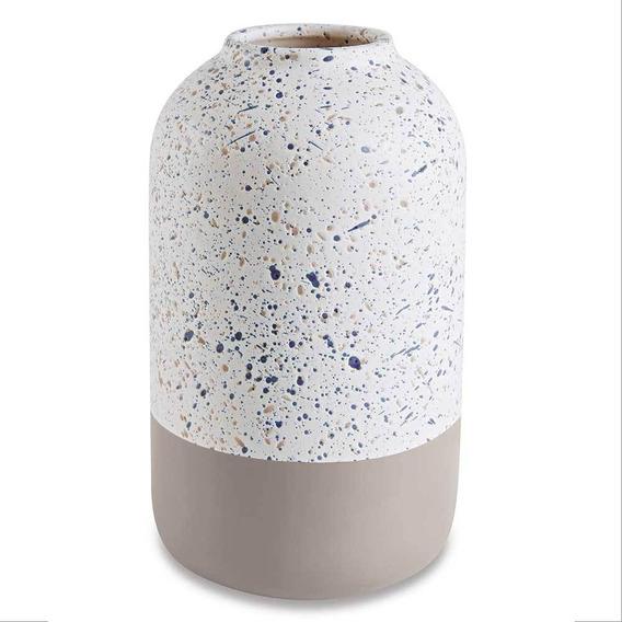 Vaso Decorativo Em Cimento Branco Com Cinza 21cm