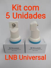 Kit Com 5 Lnb Universal Greatek Sistema Ku P/ Antenas De Tv