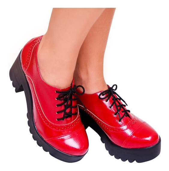 Sapato Feminino Oxford Vermelho Verniz Tratorada Salto
