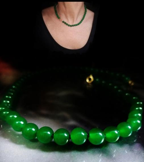 Pedras - Colar Jade Verde 8mm, Fecho De Ouro 18, Cód236c189