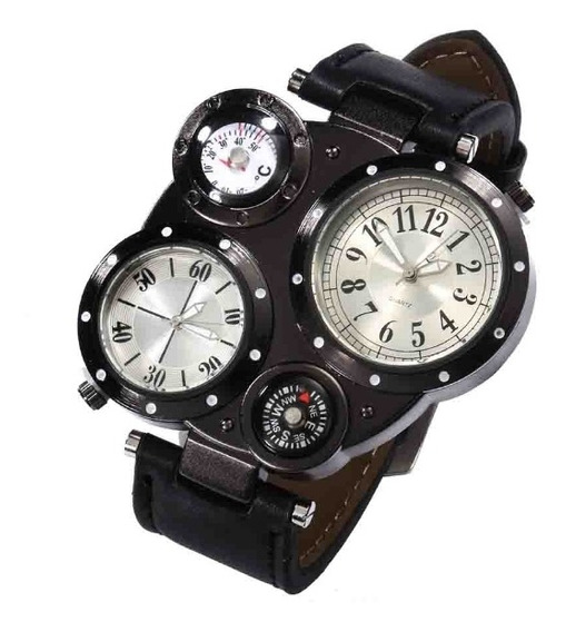 Relógio Modelo Quartzo Com Bússola E Termômetro.