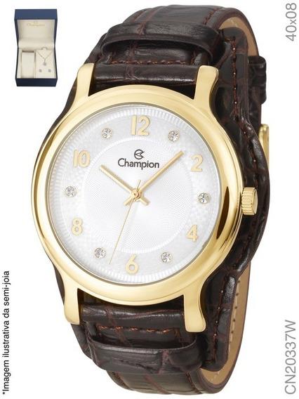 Relógio Champion Feminino Cn20337w + Semi Jóias Em Couro