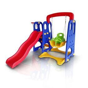 Playground Infantil 3x1 Escorregador Balanço E Cesta Iwpi