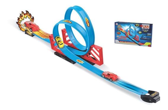 Pista Carrinho Infantil Tipo Hotwheels Duplo Looping Braskit
