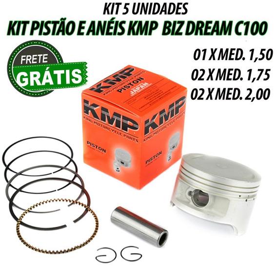 5 Unidades Pistão Kit C/anéis Kmp C100 Dream Biz Varias Medi