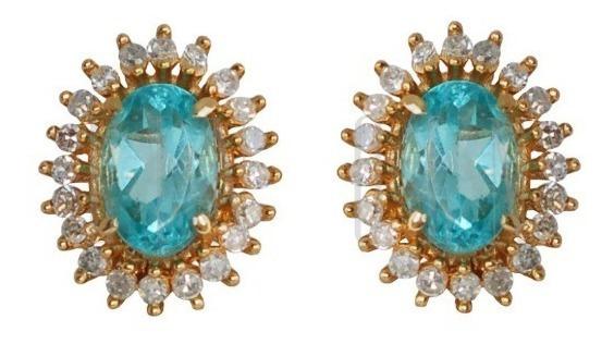 Lindíssimo Par De Brincos Em Ouro, Diamantes E Apatitas