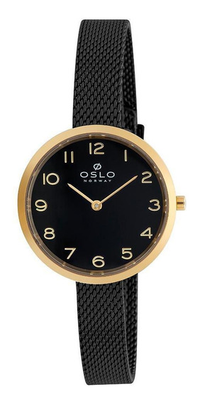 Relógio Pulso Oslo Preto E Dourado Slim