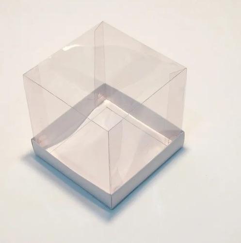 Imagem 1 de 3 de 10 Caixas 20x20x20 Tampa Acetato Branco Mini Bolo/panetone