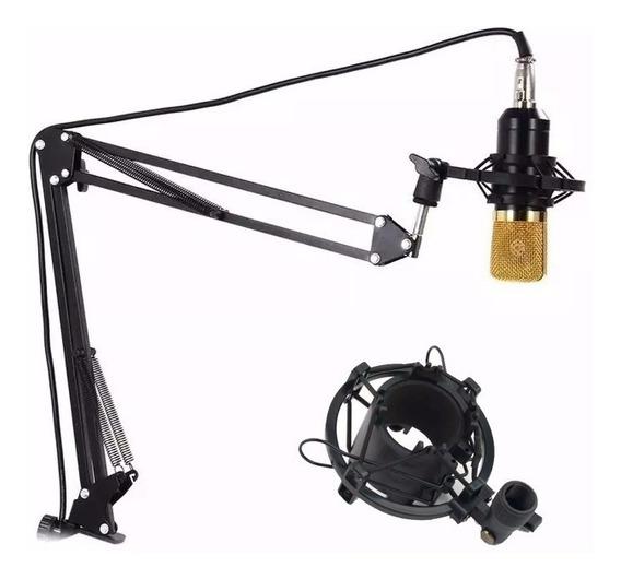 Microfone Bm800+ Aranha+ Braço Art+ Pop Filter+ Placa Audio