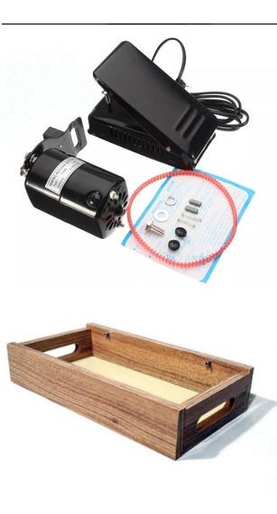 Kit Máquina Costura Virar Portátil Base Motor + Brinde