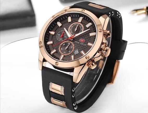 Relógio Masculino Original Dourado Minifocus Frete Gratis !!