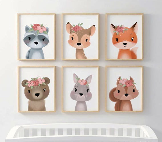 Set 6 Laminas Infantiles Impresas Animales Nórdicos