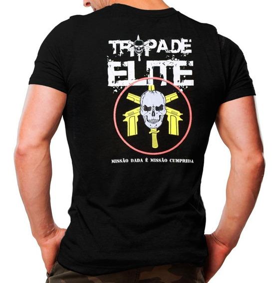 Camisa Camiseta Estampada Tropa De Elite Bope - Preta