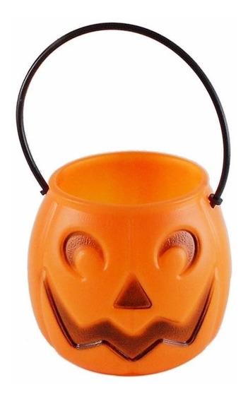 Kit 12 Mini Balde Abóboras Cesto Doces Enfeite De Halloween