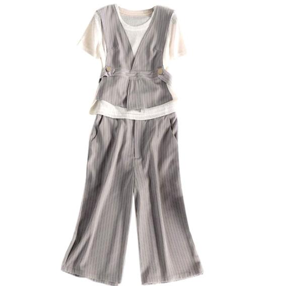 Conjunto De 3 Peças Calça, Blusa E Colete