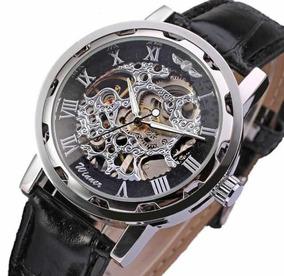 Relógio De Corda Fundo Transparente Esqueleto Mecanizado