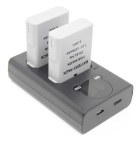 Kit 2 Baterias + Carregador Duplo En-el14 Para Nikon D3100