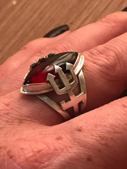 Anel De Exu Prata 950 Com Pedra Preta E Vermelha
