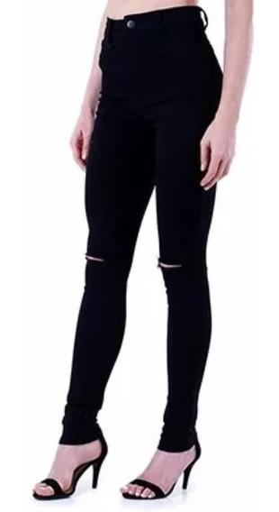 Calça Jeans Feminina Plus Size Rasgada Skinny Até O 62