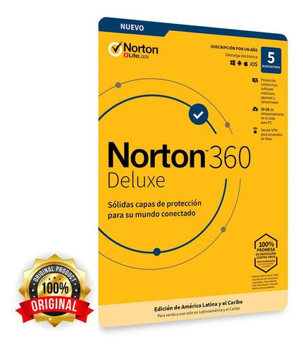 Imagen 1 de 5 de Norton 360 Deluxe Antivirus 5 Dispositivos 1 Año Original