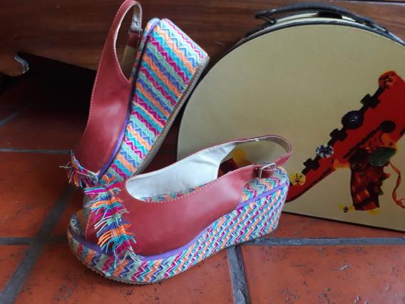 Zapatos De Diseño Cuero Y Tela Muy Lindos!!!