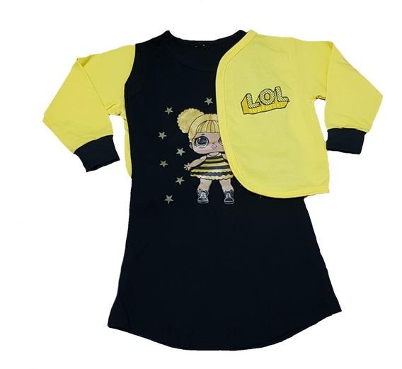 Vestido Minnie Ou Lol Queen Bee Com Bolero Manga Longa