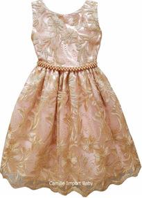 Vestido Rosa E Dourado Super Luxo Daminha Dama Festa Luxo