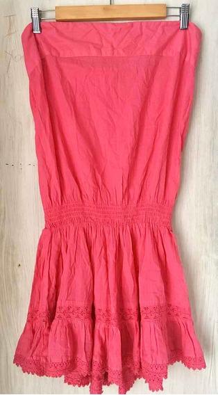 Vestido Corto Rosa C/ Broderie Marca H&m Talle 38/40 Imp Us
