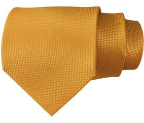 Corbata Dorada Textura Micro Cuadros Clásica 9.5 Cm
