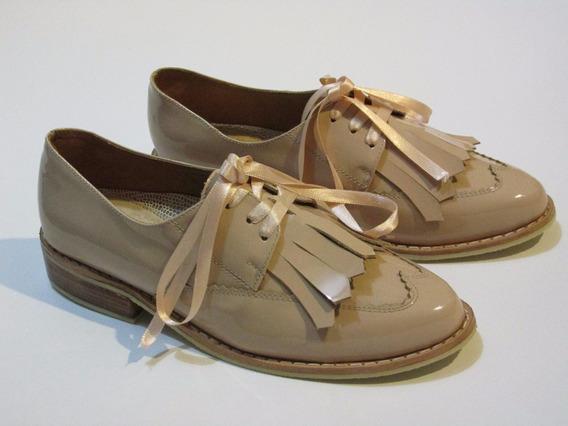 Zapato Mocasín Oxford Abotinado En Cuero Para Mujer