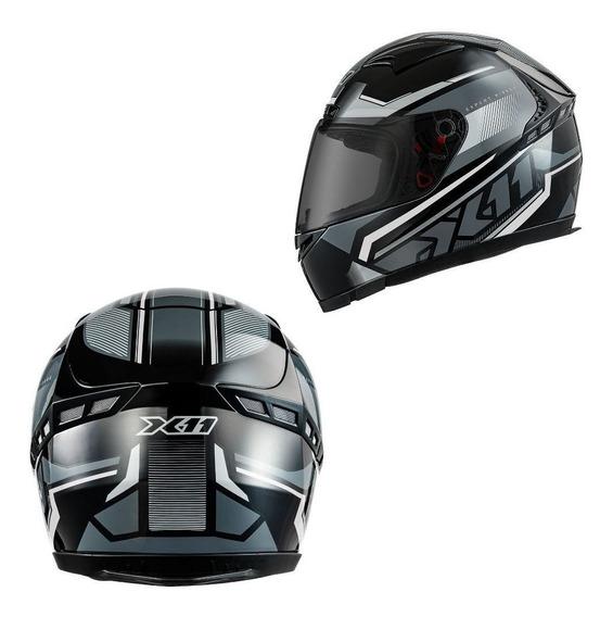 Capacete Motociclista X11 Volt Dash Preto Cinza Esportivo 62